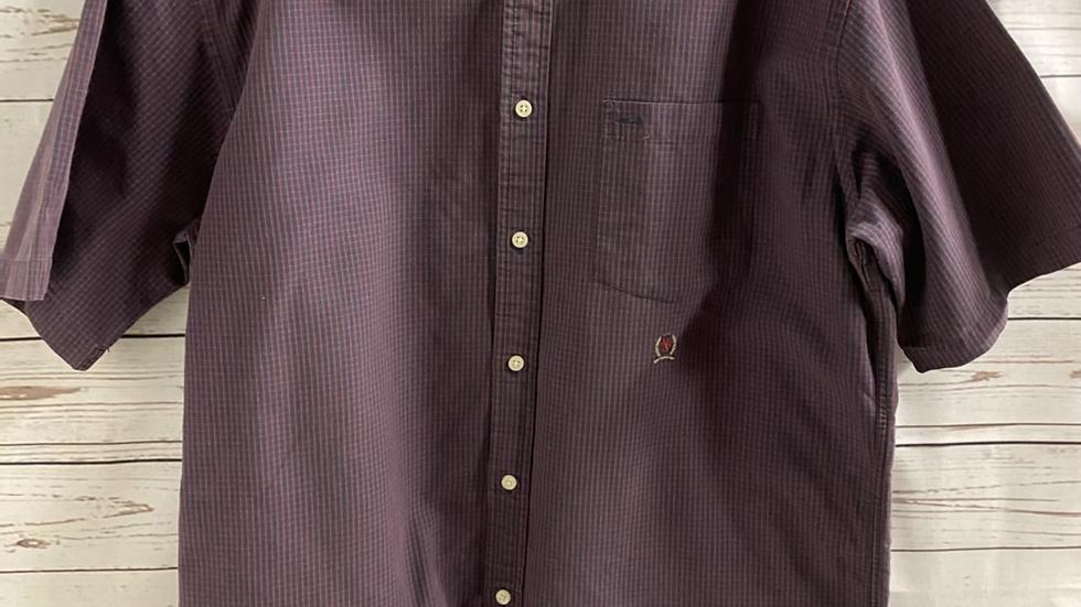 Mens Tommy Hilfiger Burgundy Navy Short Sleeve Shirt Size Medium - Immaculate