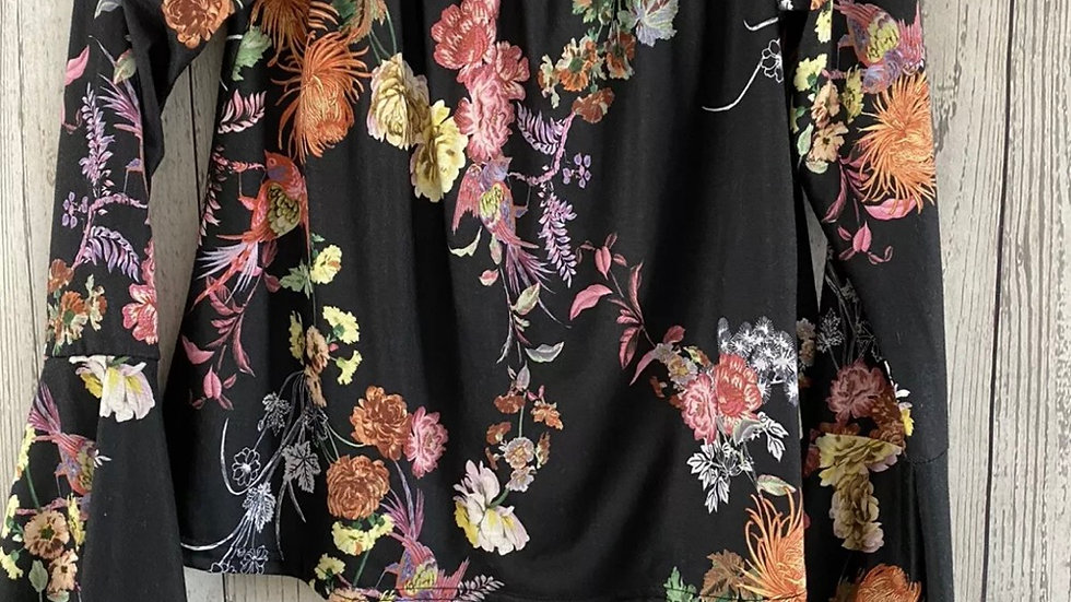 Womens / Ladies Boohoo Black Floral Off Shoulder Top Size 8 Excellent Condition
