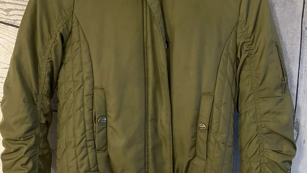 Girls Next Khaki Green Bomber Parka Coat Faux Fur Lined Age 10 Years Excellent