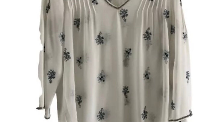 Womens / Ladies Long Tall Sally White Blue Floral Blouse Size 10 Immaculate