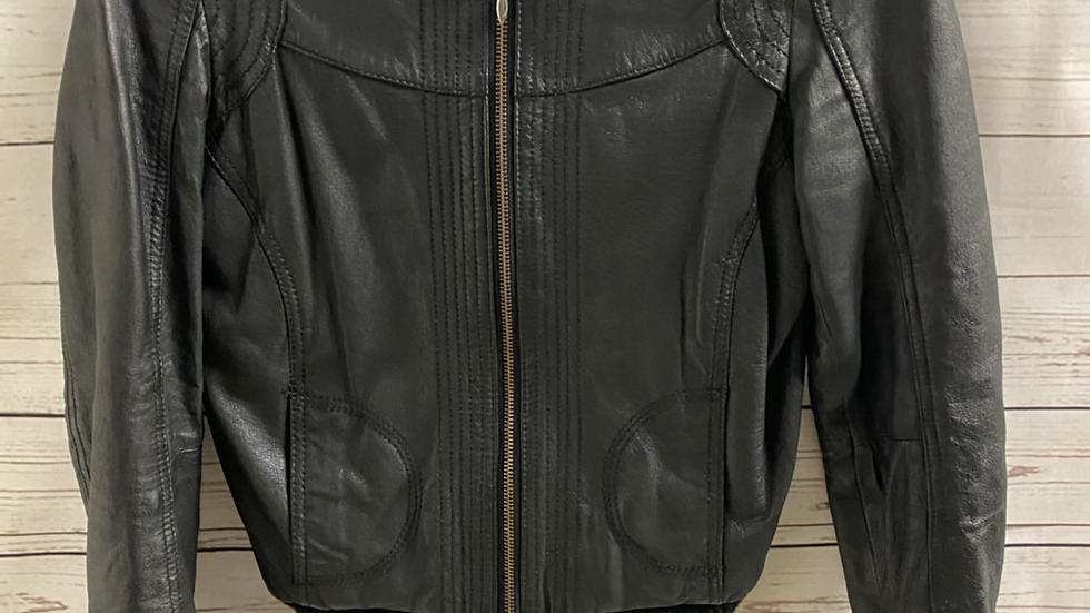 Womens / Ladies Asos Black Faux Leather Jacket Size 8 Excellent Condition