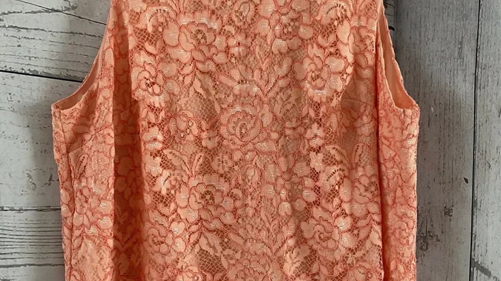 Womens / Ladies F&F Peach Lace & Lined Blouse Vest Size 22 Immaculate