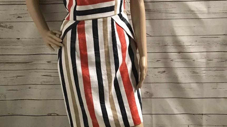 Womens / Ladies Arggido Spanish Red White Stripe Dress Size 10 (40) Immaculate