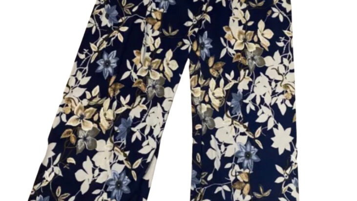 Womens Ladies Urban Posion Light Weight Flow Trousers Blud Floral Size S/M NEW