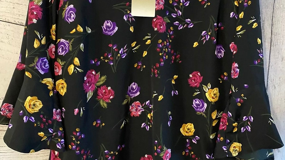 Womens / Ladies Anthology Black Floral Blouse Size 14 New With Tags