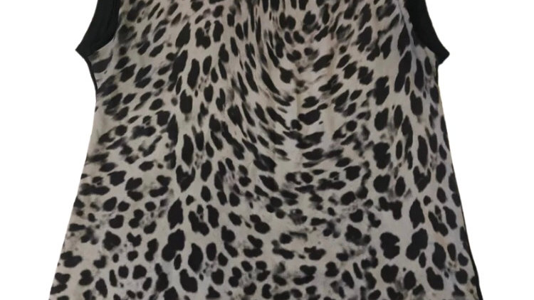Womens / Ladies Mango Jeans Black Leopard Print Top - Size Large Immaculate