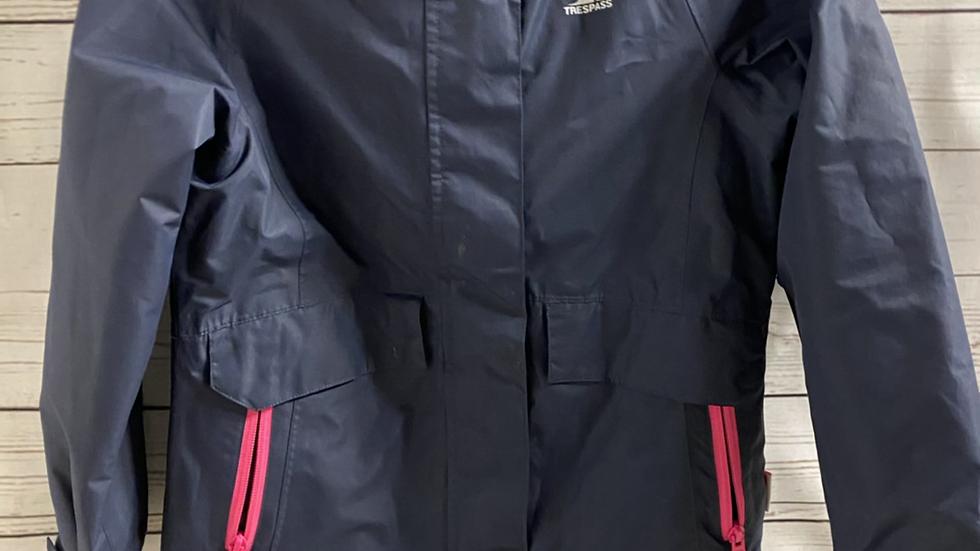 Girls Trespass Navy Waterproof Coat Age 7-8 Years Excellent Condition