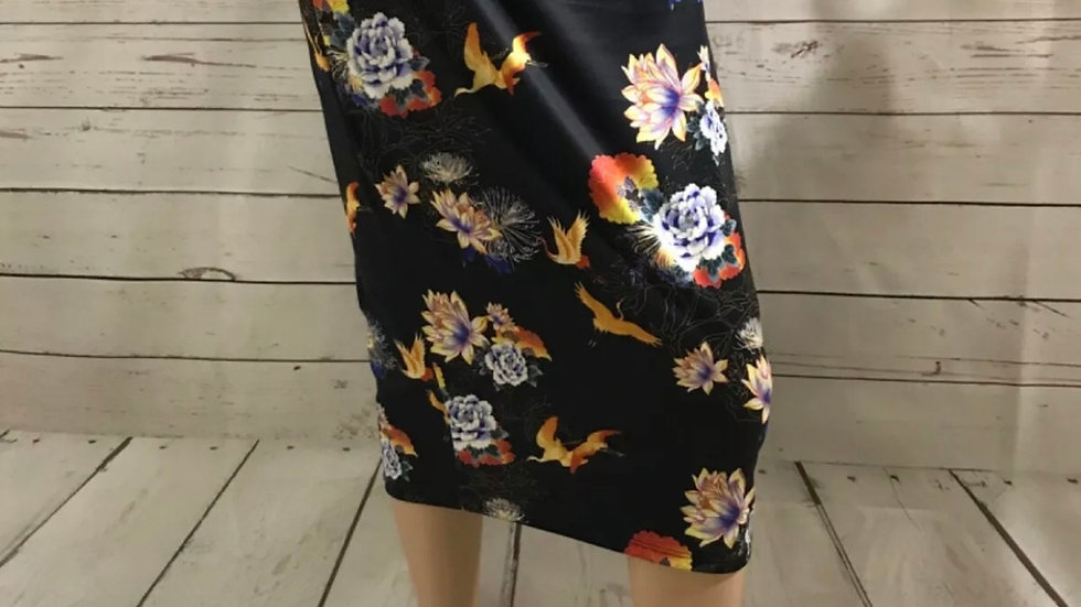 Womens / Ladies Atmosphere Floral Bird Stretch Pencil Skirt Size 12 Excellent