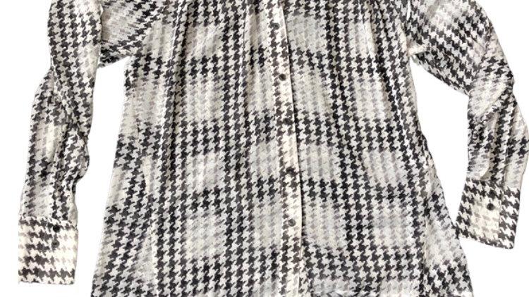 Womens / Ladies Topshop Black & White Long Sleeve Blouse Top Size 10- Excellent