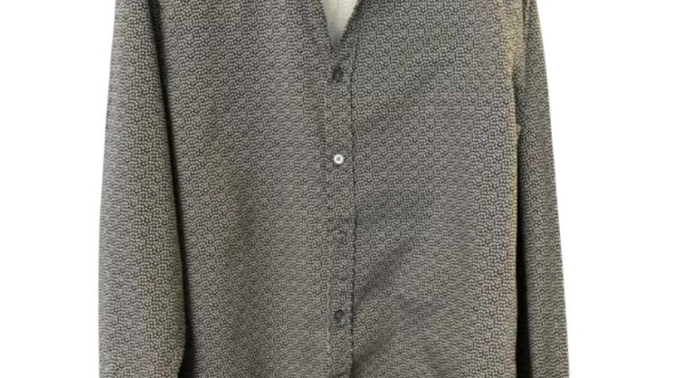 Mens Ted Baker Size 4 Black Print long Sleeve Shirt Excellent Condition