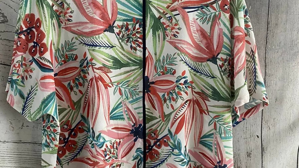 Womens / Ladies Marks & Spencer Green Red Floral Blouse Top Size 14