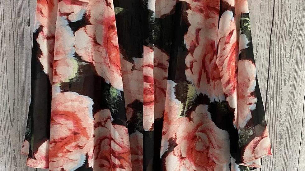 Womens / Ladies Matalan Red Floral Kimono Cardigan Size Medium Immaculate
