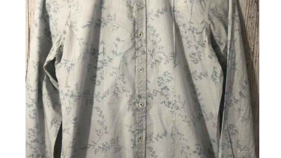 Men's River Island Blue Floral & Stripe Long Sleeve shirt 100% Cotton size Small