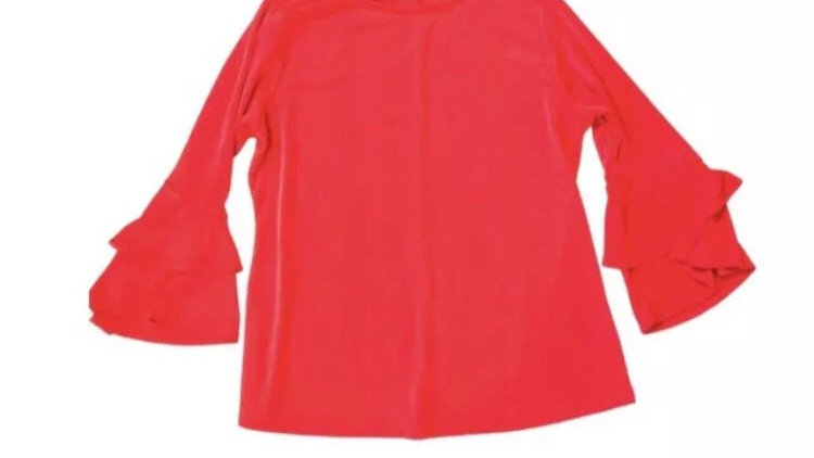 Womens / Ladies Lipsy Red Top Flare Sleeves Size 12 Immaculate