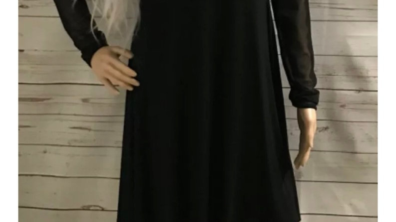 Women's Missguided Black Fit Flare Dress & See Through Mesh Long Arms Size 10
