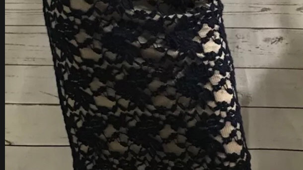 Women's / Ladies Atmosphere Navy Lace Pencil Straight Skirt Lined Size 12