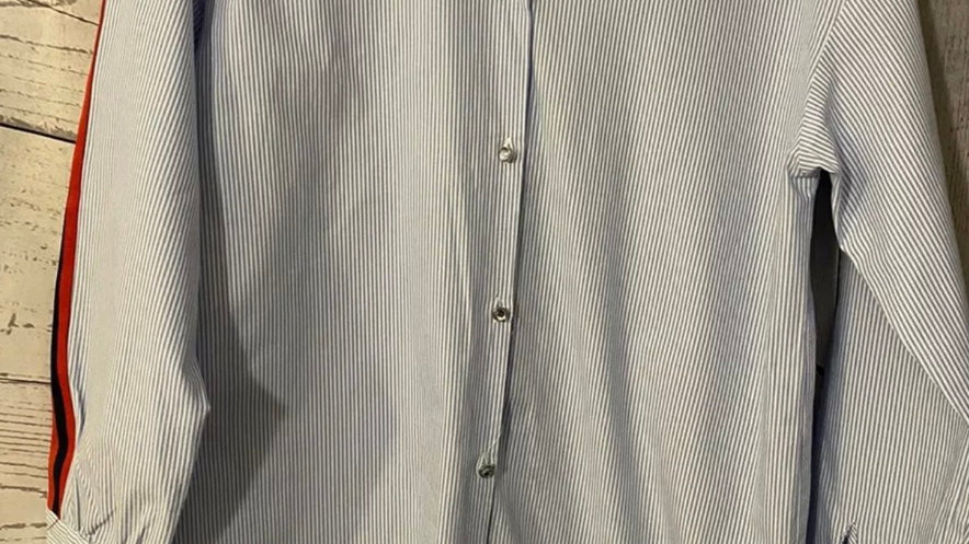 Girls River Island Blue White stripe Shirt Age 11-12 Years Immaculate