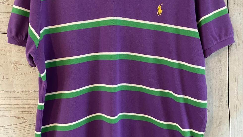Mens Polo Ralph Lauren Purple Stripe Polo T-shirt Custom Fit Size XL Excellent