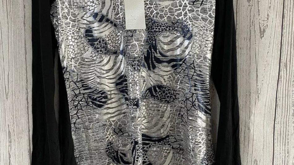 Womens / Ladies Chianti Black Silver Long Sleeve Blouse Tunic Top Size 10 New