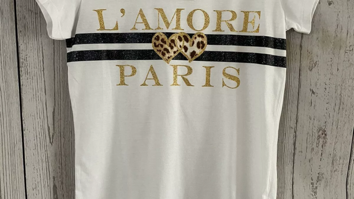 Girls Debenhams L'amore Paris White Gold T-Shirt Age 12-13 Years New With Tags