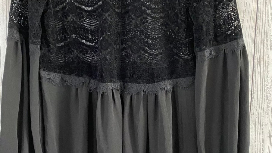 Womens / Ladies Marks & Spencer Black Lace Long Sleeve Blouse Top Size 12
