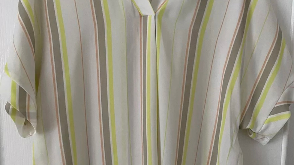 Womens / Ladies Primark White Yellow Grey Blouse Top Size 10 Immaculate