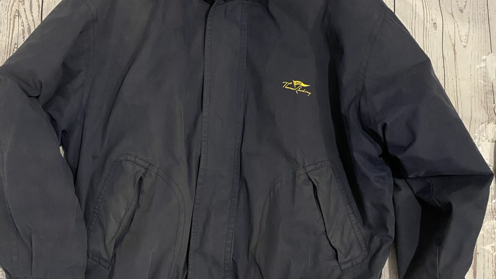 Mens Vintage Thomas Burberry Padded Navy Coat Size Large Good Condition
