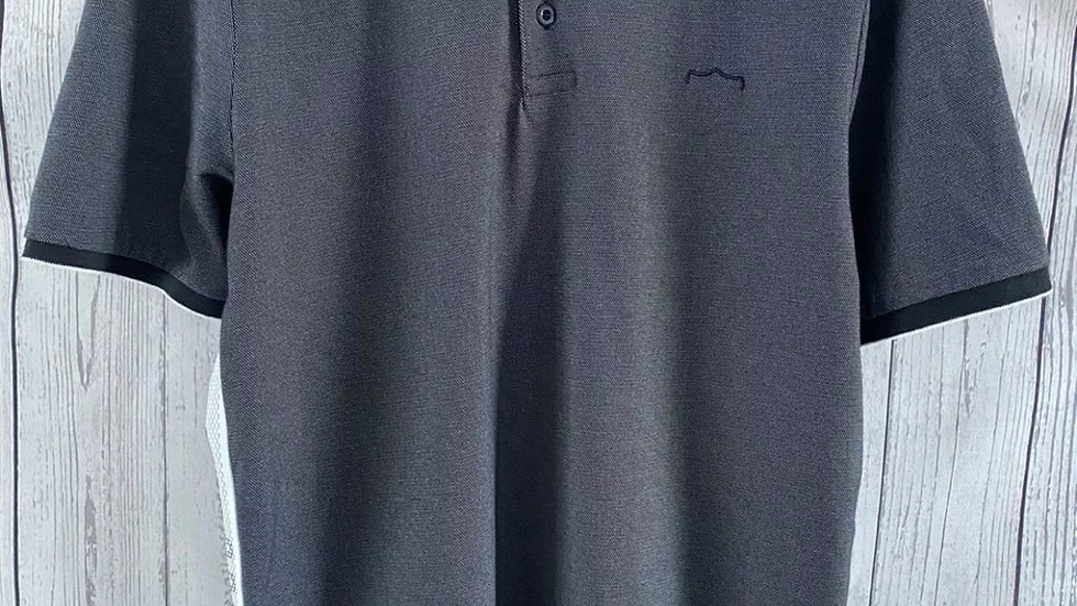 Mens 883 Police Grey Black Collar Polo Neck T-Shirt Size XL - Immaculate