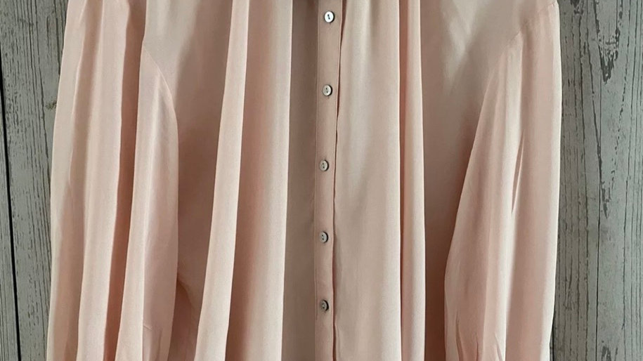 Womens / Ladies Marks & Spencer Pale Pink Button Long Sleeve Blouse Size 14 New