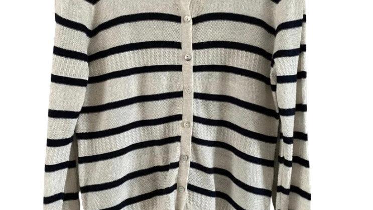 Womens / Ladies Next Beige Navy Stripe Cardigan Size 12 Excellent Condition