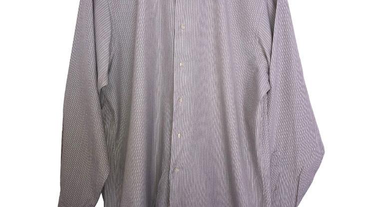 "Mens Calvin Klein Grey Stripe Long Sleeve Shirt 16.5"" Collar 34/35 Chest"