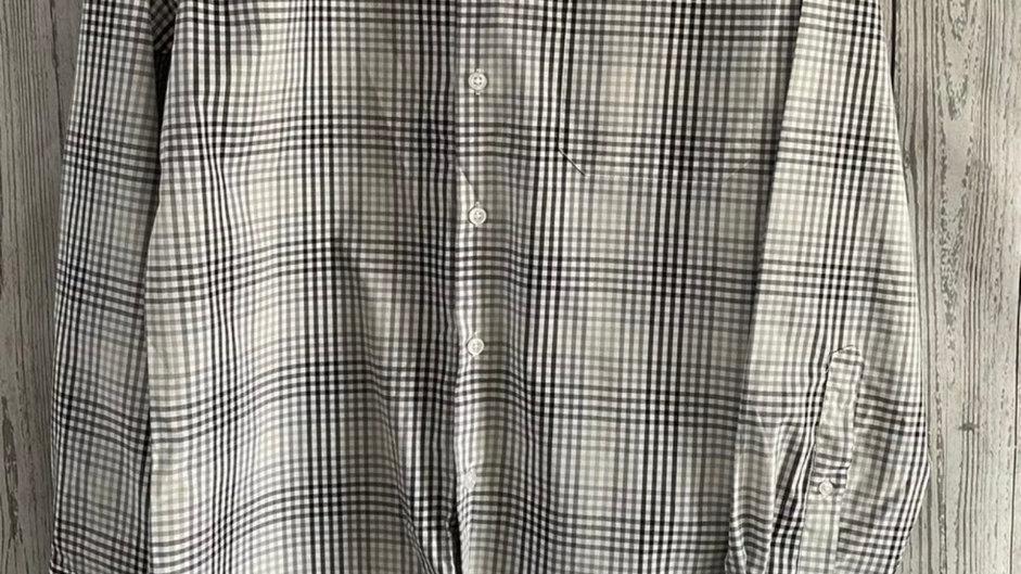Mens Nicole Miller New York Black Grey Check Long Sleeve Shirt Size Small New