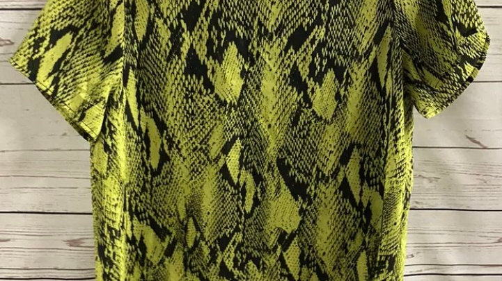 Womens / Ladies Primark Yellow Black Snake Blouse Top Size 8 Immaculate