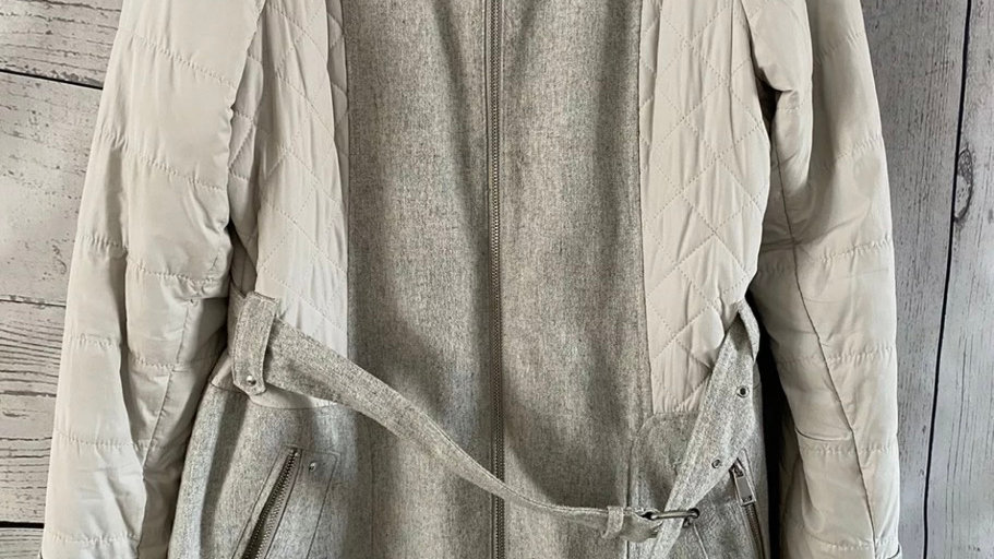 Womens / Ladies River Island Grey Wool Mix Coat Size 14 - Immaculate Condition