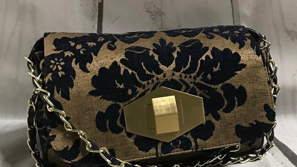 Women's / ladies Next gold and navy fabric handbag excellent condition