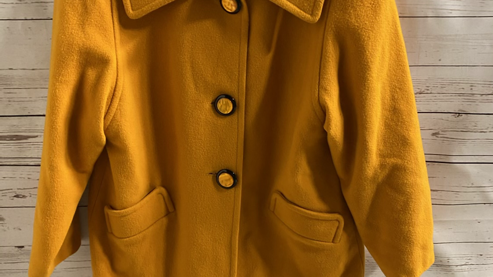 Womens / Ladies House Of Fraser Pure Wool Mustard Coat Size 12 -excellent