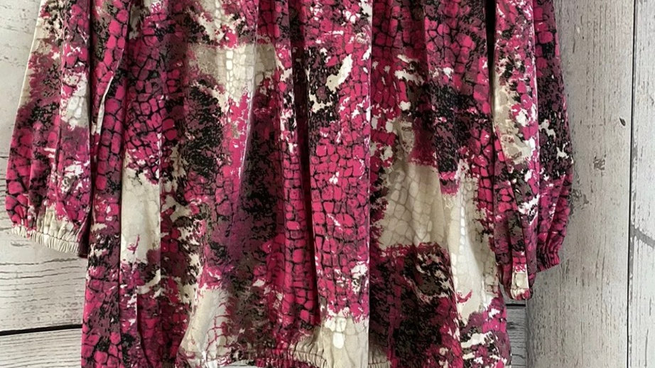 Womens / Ladies Chianti Pink Print Long Sleeve Top Size 12 New With Tags