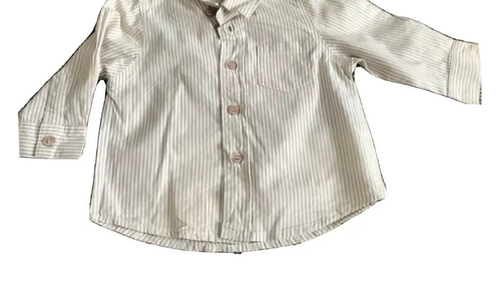 Boys Ladybird Brown Stripe Long Sleeve Shirt Age 9-12 Months Excellent Condition