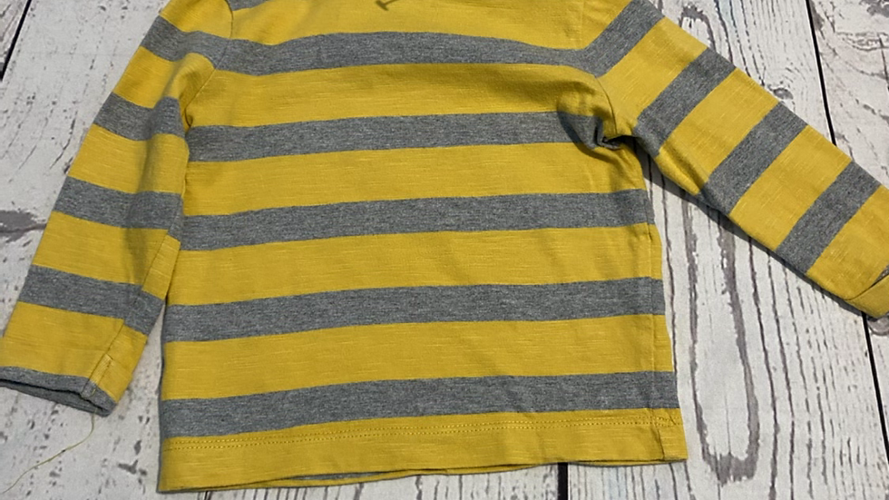 Baby Boys Morhercare Yellow Grey Stripe Long Sleeve Top Age 3-6 Months Excellent