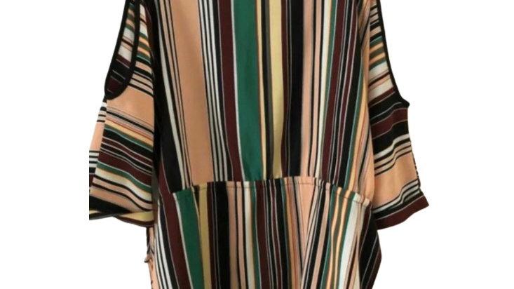 Women's Ladies River Island Stripe Multi Coloured Blouse Cut Out Shoulder Size 6