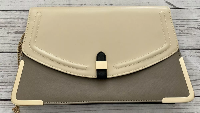 Womens / Ladies New Look Grey Beige Clutch Bag Immaculate Condition