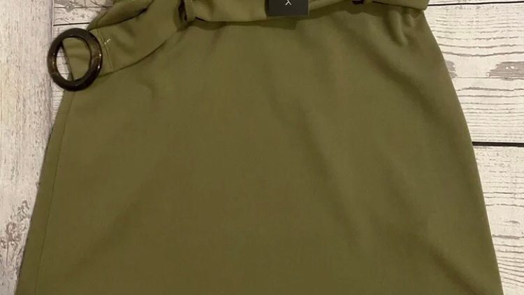 Womens / Ladies New Look Khaki Horn Scuba Skirt Size 8 New with Tags