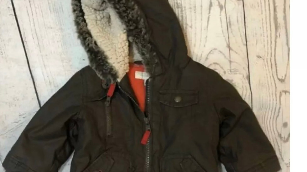Boys Debenhams Rocha Little Rocha Brown Fleece Lined Coat Age 3-6 Months
