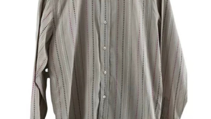 Mens Ted Baker Jeans Brown Pink Long Sleeve Shirt Size 4 Large Immaculate