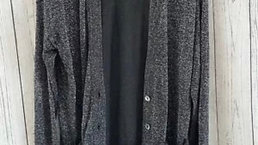 Womens / Ladies F&F Silver Black Sparkle Cardigan Size 18 - Immaculate Condition