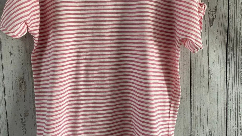 Womens / Ladies George Pink & White Short Sleeve T-Shirt Size 8 Immaculate