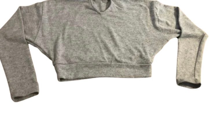 Girls New Look Grey Cropped Jumper Age 9 Years Excellent Condition
