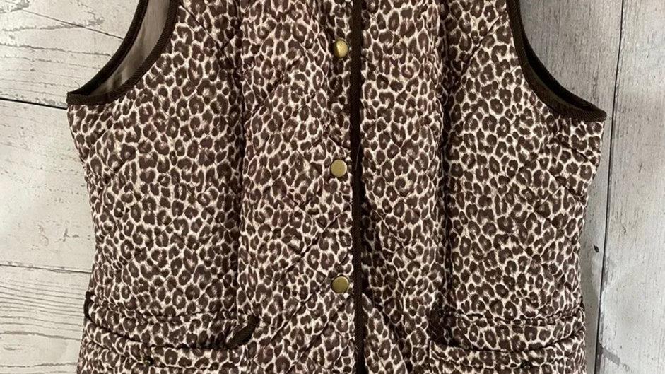 Womens / Ladies Leopard Print Bodywarmer Gilet Size 14 - Excellent Condition