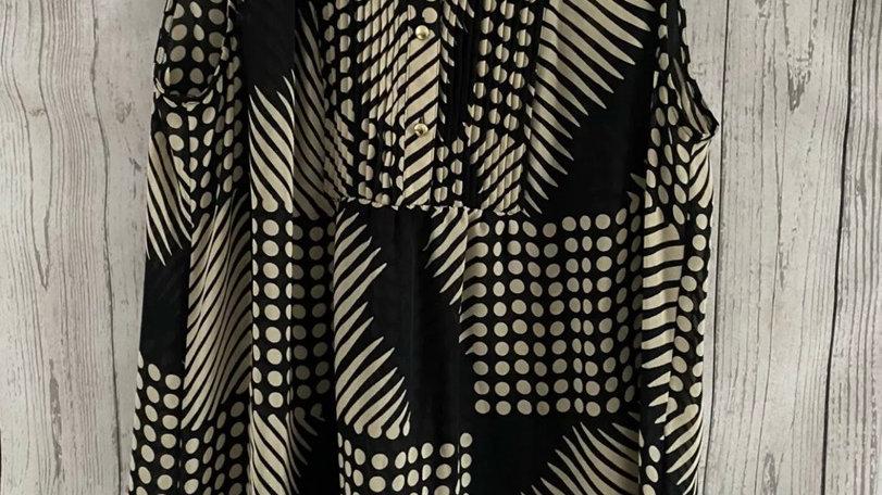 Womens / Ladies Banana Republic Brown Black Sleeveless Blouse Top Size XL
