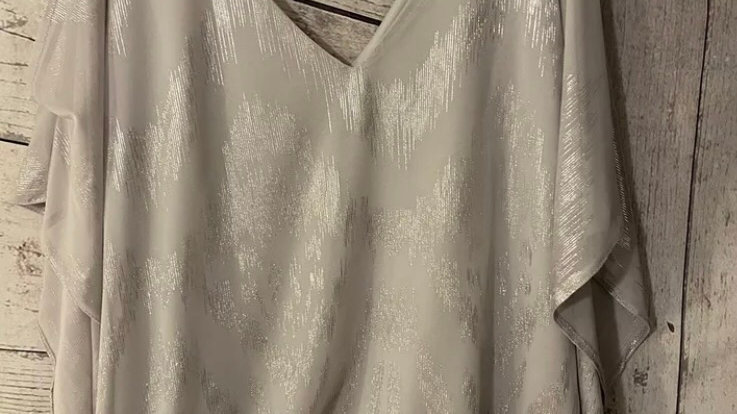 Womens / Ladies Wallis Silver Cut Out Shoulder Blouse Top Size 12 Immaculate